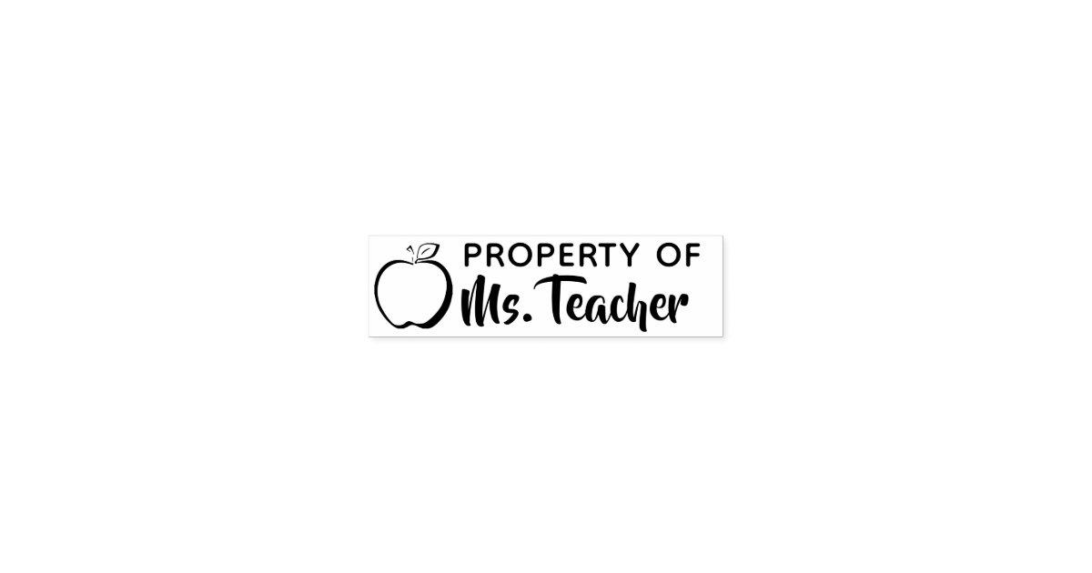 Property Of Custom Teacher Name Classroom Self Inking Stamp Zazzle Com