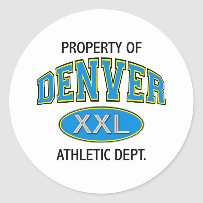 PROPERTY OF DENVER ATHLETIC DEPT. CLASSIC ROUND STICKER