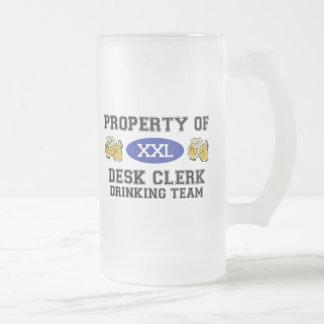 Property of Desk Clerk Drinking Team Frosted Glass Beer Mug