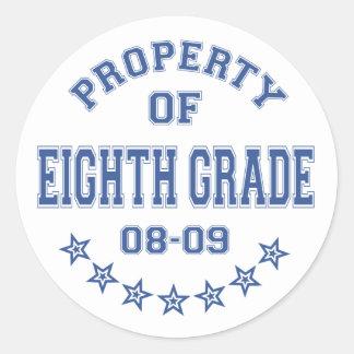 Property Of Eighth Grade Classic Round Sticker