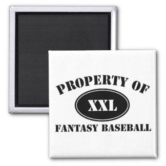 Property of Fantasy Baseball 2 Inch Square Magnet
