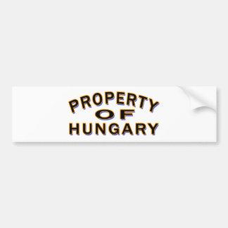 Property Of Hungary Car Bumper Sticker