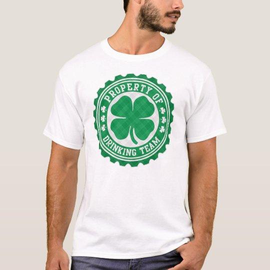 Property of Irish Drinking Team Plaid Bottle Cap T-Shirt