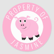 Property Of Kids Book Belongs To Pink Pig Classic Round Sticker