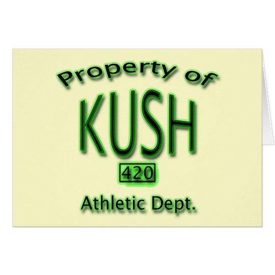 Property of Kush 420 Athletic Dept green Card