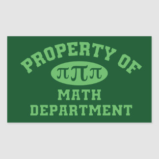 Property Of Math Department Sticker (green)