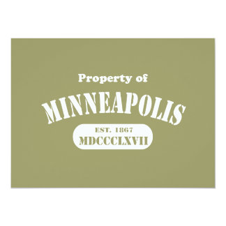 "Property of Minneapolis 5.5"" X 7.5"" Invitation Card"
