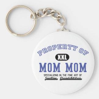 Property of MomMom Basic Round Button Keychain