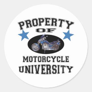 Property Of Motorcycle University Classic Round Sticker