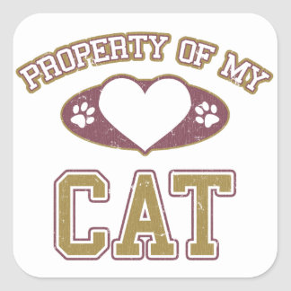Property of My Cat Collegiate Square Stickers