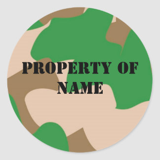 Property of name Label Classic Round Sticker