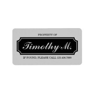 """Property Of"" Name Plate Label, Black and Grey Label"
