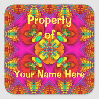 Property of  Neon Purr Stickers (Personalise) Square Sticker