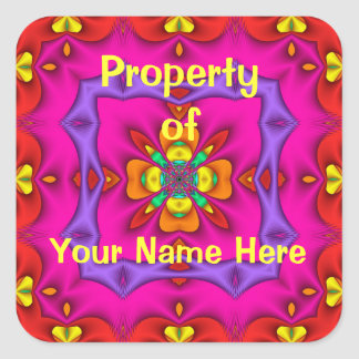 Property of  Neon Stickers (Personalise) Square Sticker