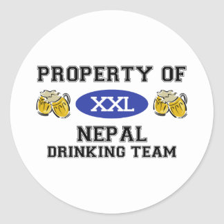 Property of Nepal Drinking Team Classic Round Sticker
