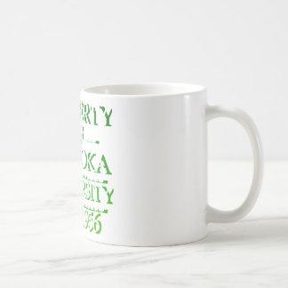 Property of Palooka University White w/ Green Coffee Mugs