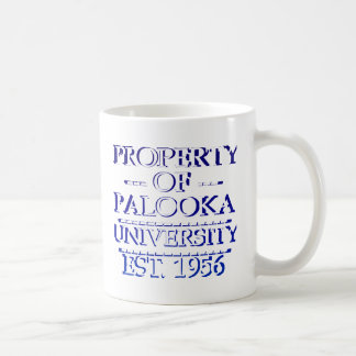 Property of Palooka University White w/ Indigo Coffee Mugs