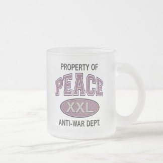 PROPERTY OF PEACE ANTI-WAR DEPT. FROSTED GLASS COFFEE MUG