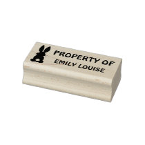 Property of Personalized Bunny Silhouette Kids Rubber Stamp