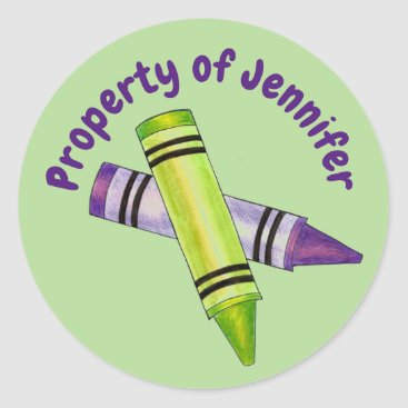 USA Themed Property of Personalized Green Purple Crayon Classic Round Sticker