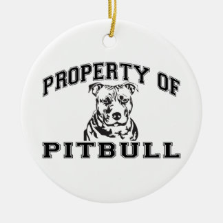 Property of Pitbull Double-Sided Ceramic Round Christmas Ornament