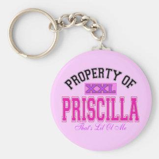 PROPERTY OF Priscilla Basic Round Button Keychain