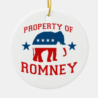 PROPERTY OF ROMNEY Double-Sided CERAMIC ROUND CHRISTMAS ORNAMENT