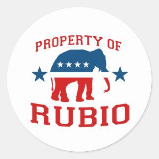PROPERTY OF RUBIO CLASSIC ROUND STICKER