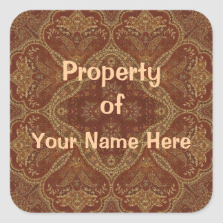 Property of  Rust Stickers (Personalise) Square Sticker