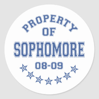 Property Of Sophomore Classic Round Sticker