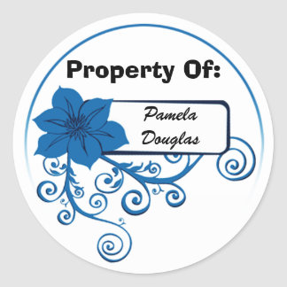 Property Of Sticker (floral blue)