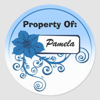 Property Of Sticker (floral blue & background )