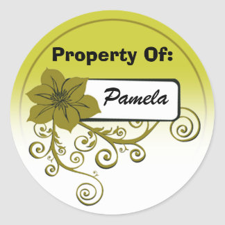 Property Of Sticker (floral olive & background )