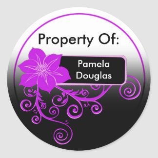 Property Of Sticker (floral purple)