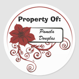 Property Of Sticker (floral red)