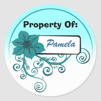 Property Of Sticker (floral teal with background )