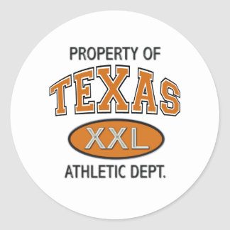 PROPERTY OF TEXAS ATHLETIC DEPT. ROUND STICKERS