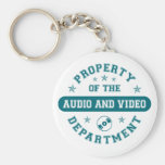 Property of the Audio and Video Department Basic Round Button Keychain