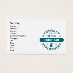 Property of the First Aid Department Business Card at Zazzle