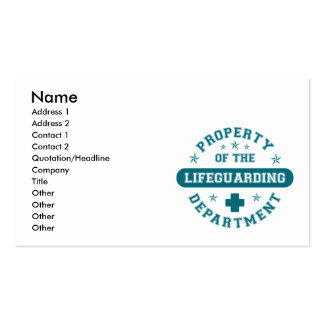 Property of the Lifeguarding Department Business Card Templates