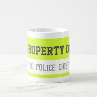 PROPERTY OF THE POLICE CHIEF Yellow Coffee Mug