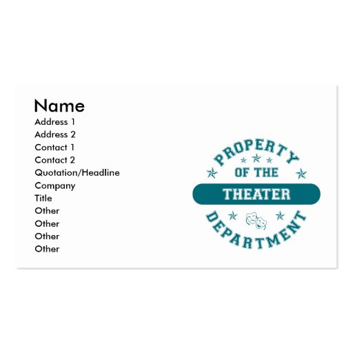 Property of the Theater Department Double-Sided Standard Business Cards (Pack Of 100)