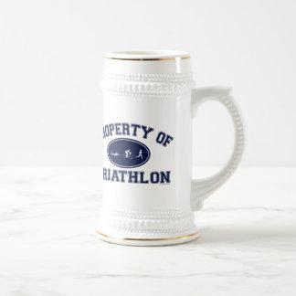 Property of Triathlon t-shirts 18 Oz Beer Stein