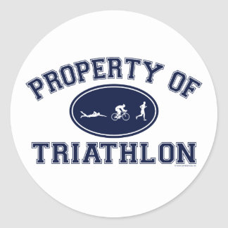 Property of Triathlon t-shirts Classic Round Sticker