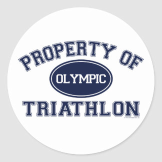 Property of Triathlon t-shirts Round Stickers