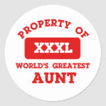 Property of world's greatest Aunt Classic Round Sticker