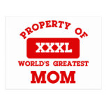 Property of world's greatest mom post cards