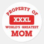 Property of world's greatest mom classic round sticker