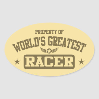 Property Of World's Greatest Racer Oval Stickers