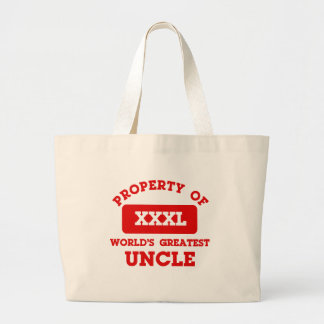 Property of world's greatest uncle canvas bags